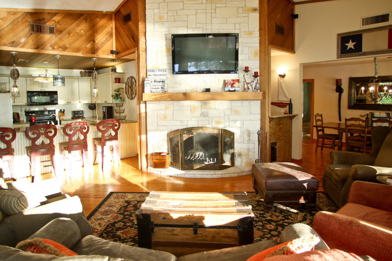 Cozy fireplace to snuggle around