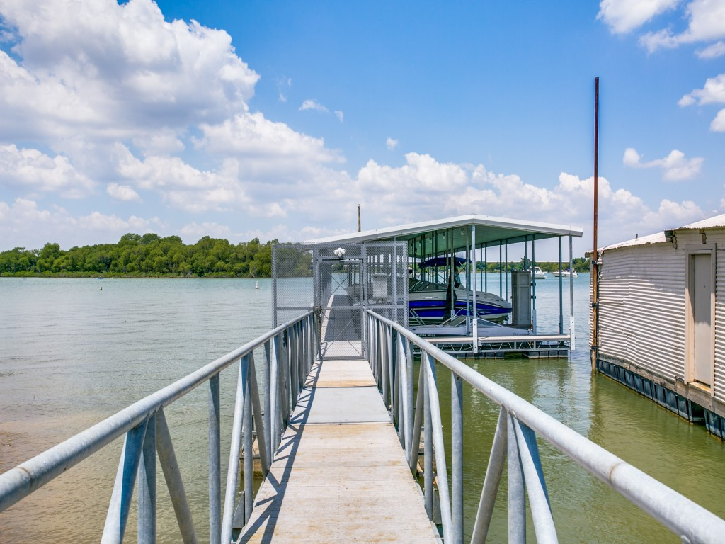 Dock was built with galvanized steel and Trex brand decking. Built to last for decades.